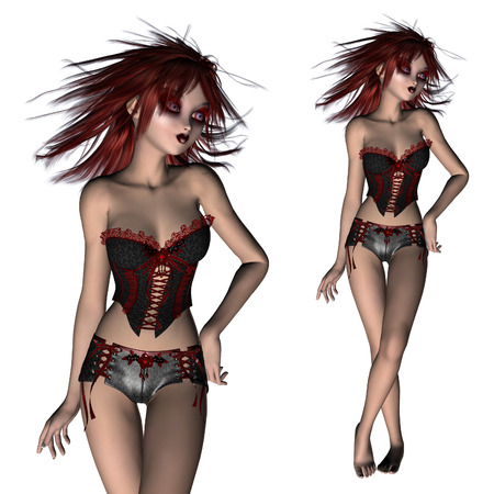 red corset: Digitally rendered illustration of a gothic girl in black and red corset on white background. Stock Photo