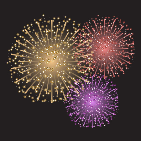 Beautiful colorful sparkling fireworks on dark gray .