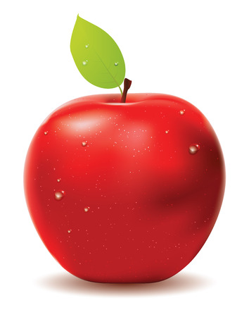 apple red: Red apple with leaf and water drops on white . Illustration