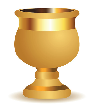 Beautiful big golden shiny vase on white . Vector