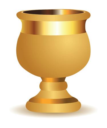 clay pot: Beautiful big golden shiny vase on white .