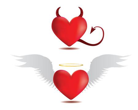 Illustration de diable rouge coeurs sur blanc ange et. Banque d'images - 23670904
