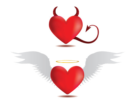 Illustration of angel and devil red hearts on white . Vector