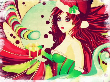 Santa girl in green corset on grunge colorful candy . photo