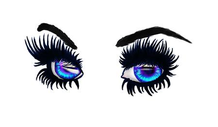 Stylized big blue eyes with long black lashes. Stock Photo