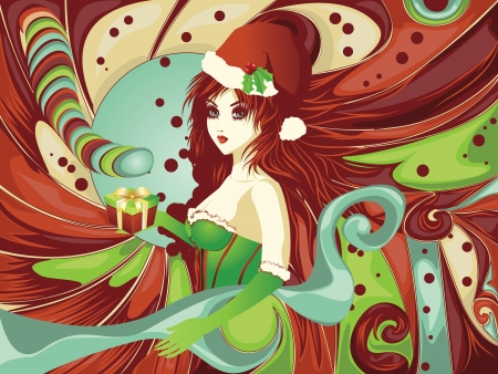 Santa girl in green corset on colorful candy background. Vector
