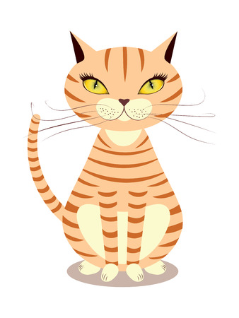 purring: Cartoon striped red cat with yellow eyes on a white background.