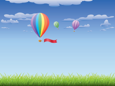 Fresh green grass and hot air balloons in the sky background. Vector