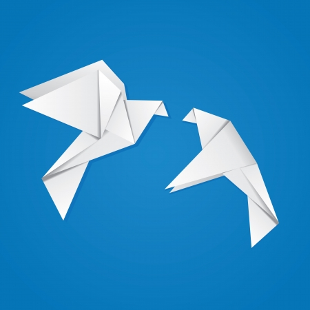 Two white origami pigeons on blue background. Vector