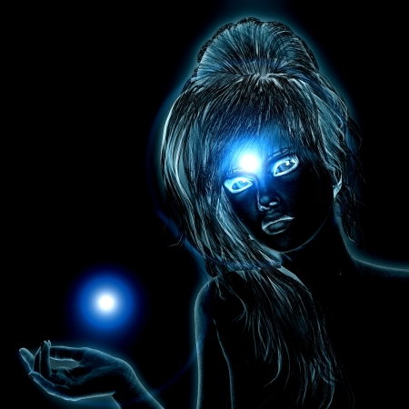Abstract 3d girl with blue glowing effect on black background. photo