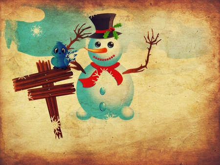 Happy snowman near wooden signboard with blue bird on it, grunge background. photo