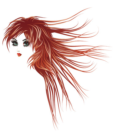 Beautiful girl with long lashes and red hair blown by the wind. Stock Vector - 23909869