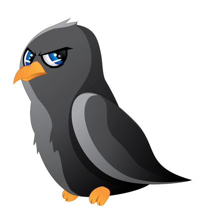 Cute cartoon black raven with blue eyes on white background.