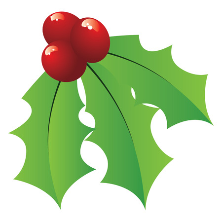 Cartoon simple mistletoe shiny red and green ornament. Vector