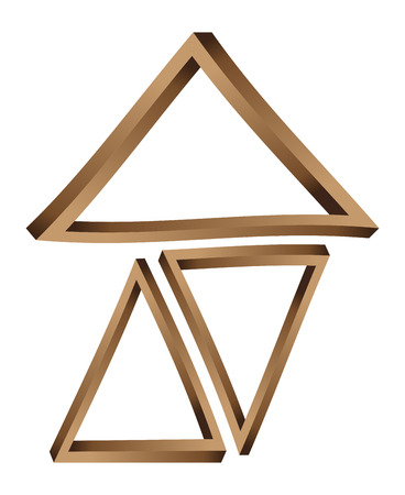 Abstract fantastic wooden triangles on white background. Vector