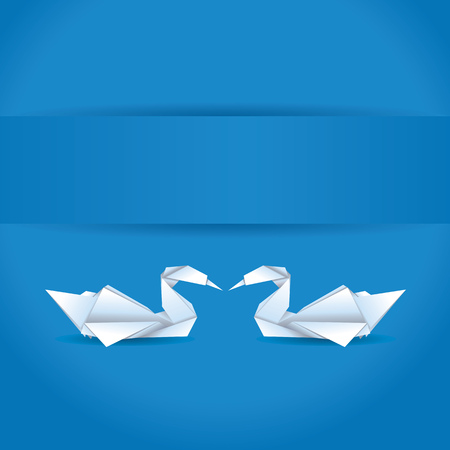 Origami, white folded paper swans on blue background. Vector