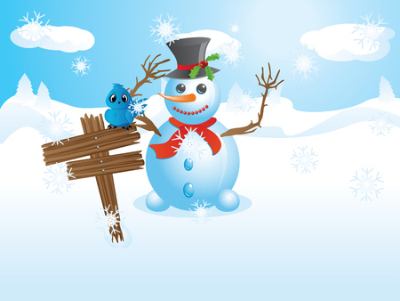 Happy snowman near wooden signboard with blue bird on it. Vector