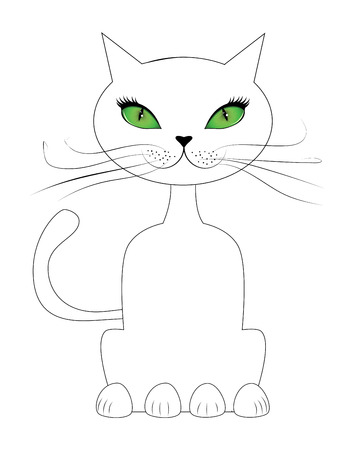 green eyes: Cartoon cat with green eyes sit on white background.