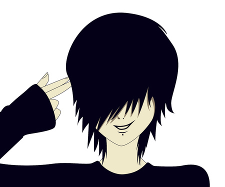A young emo kid with hand shaped like a gun.