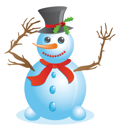 Cute happy Christmas snowman on white background. Illustration