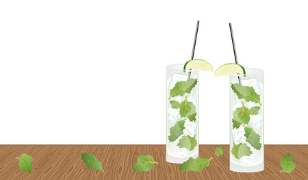 Fresh mojito drink on the wooden table background Vector