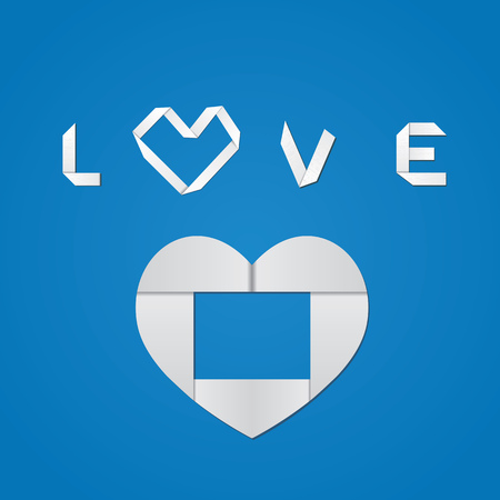 White origami paper heart and love word on blue background. Vector