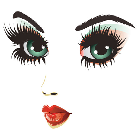 Beautiful girl face with gothic fashion make up. Vector