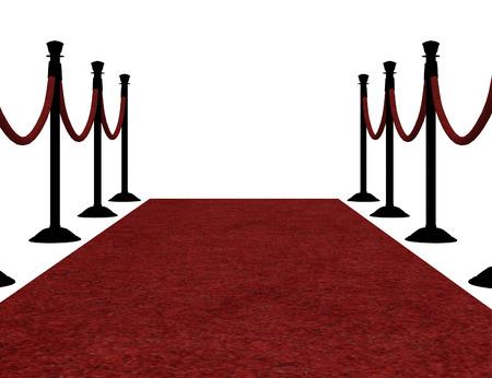Digitally rendered illustration of red carpet on white background. illustration