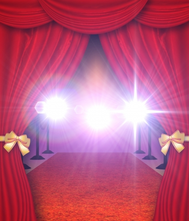fames: Red carpet entrance with open curtains background.