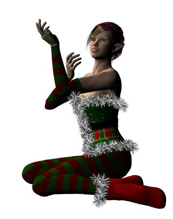 germanic people: Digitally rendered illustration of an elf girl, Santa helper on white background.