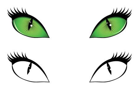 halloween cat: Green, black and white cartoon cat eyes illustration.