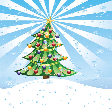 Winter scene with decorated Christmas tree on slope. Vector