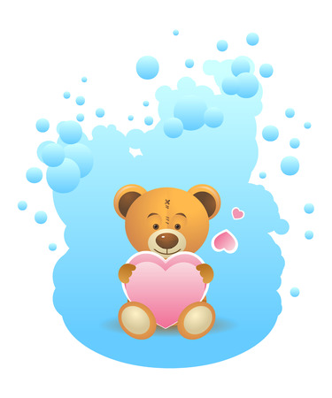 Cute teddy bear toy with pink heart on blue background. Vector