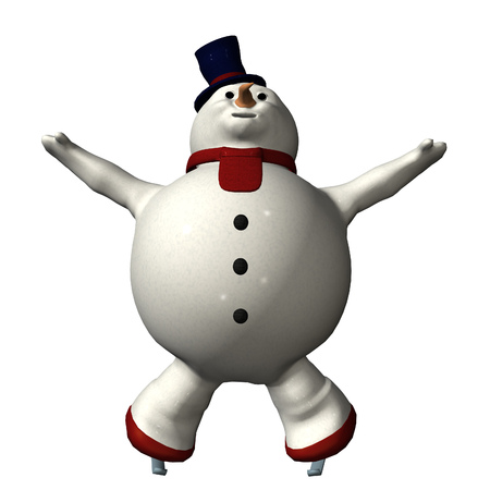 vue: Digitally rendered illustration of a skating snowman on white background.