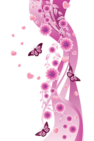 Beautiful pink ornament with butterflies and flowers. Illustration