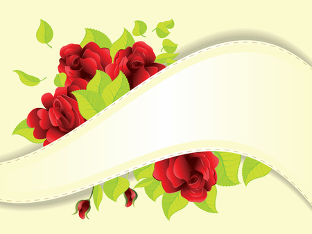 Soft yellow background with ribbon and red roses, green leaves. Vector