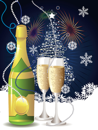 12 o'clock: New years card with champagne and decorative snowflakes. Illustration