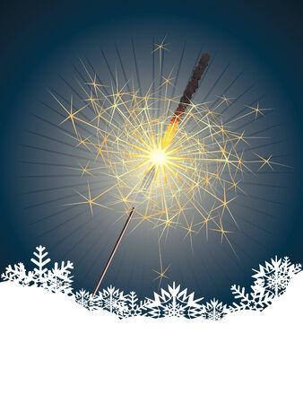 bengal light: Christmas bengal light illustration on blue background.