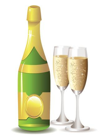 Zwei Gläser Champagner und eine Flasche auf weißem Hintergrund.