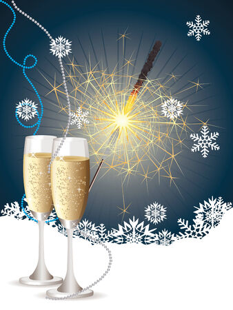 sparkler: Champagne bottle, two glasses and sparkler on blue background with snowflakes.
