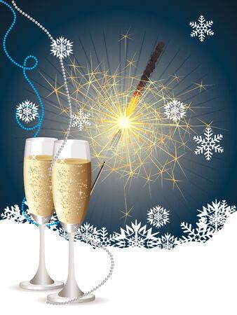 Fles champagne, twee glazen en sterretje op blauwe achtergrond met sneeuwvlokken. Stock Illustratie
