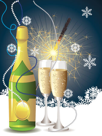 bengal light: Champagne bottle, two glasses and sparkler on blue with snowflakes. Illustration