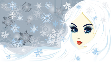 snow queen: Beautiful fantasy snow queen with snowflakes.