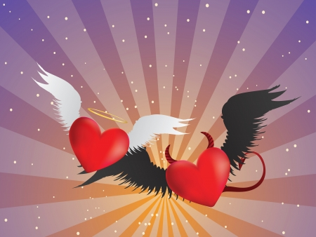 devil ray: Valentine red hearts with angel wings on background with rays. Illustration