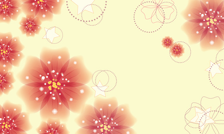 Elegant yellow background with soft pink color flowers. Vector