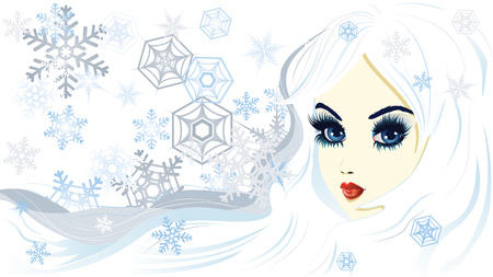 fashion story: Beautiful fantasy snow queen on background with snowflakes.