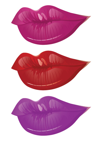 Female lips of different colors on white background. Vector