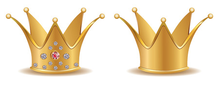 yellow crown: Precious golden crown with diamonds on white background. Illustration