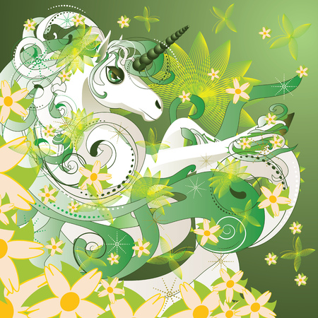 White spring unicorn with flowers and floral on green background. Vector