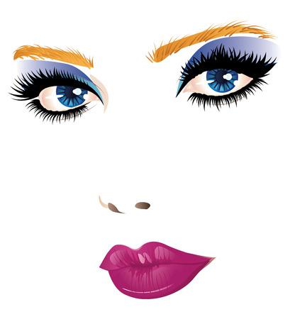 visage de jeune fille de beauté aux yeux bleus et lèvres roses.